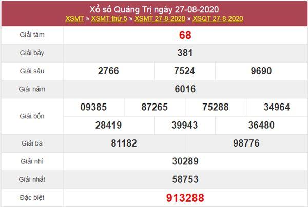 Soi cầu KQXS Quảng Trị 3/9/2020 thứ 5 cùng cao thủ